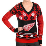 "Detroit Red Wings Women's Official NHL ""Big Logo"" V-Neck Sweater by Klew"