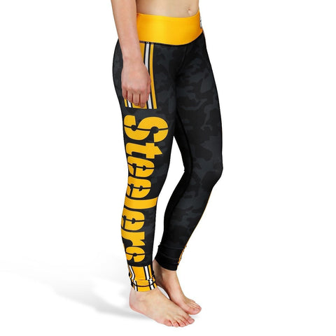 Pittsburgh Steelers Official NFL Team Logo Womens Stripe Leggings