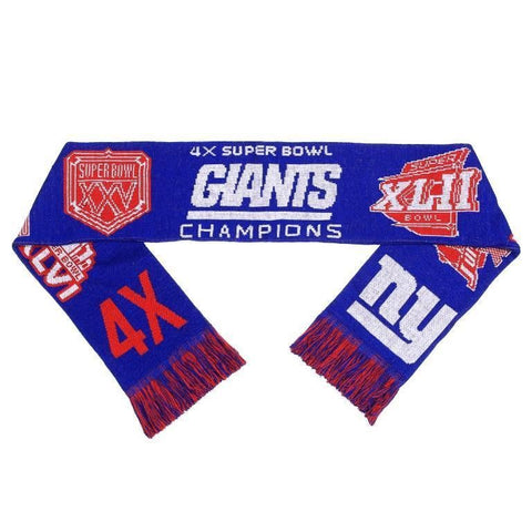 New York Giants NFL Super Bowl Commemorative Warm Acrylic Scarf