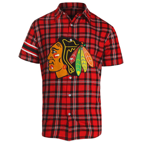 Chicago Blackhawks NHL Mens Colorblock Short Sleeve Flannel Shirt