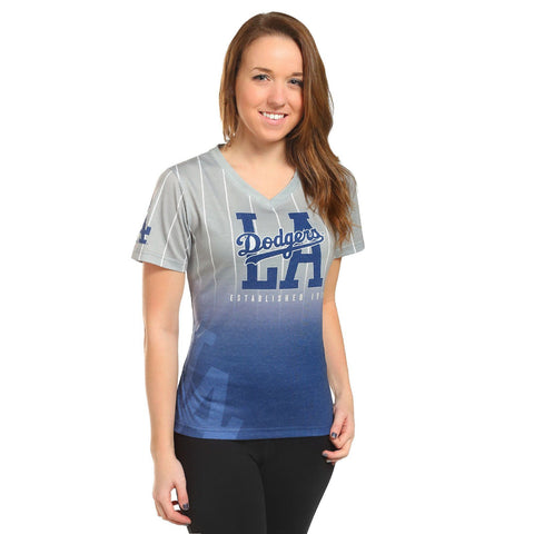 Los Angeles Dodgers Official MLB Womens Gradient V-Neck T-Shirt