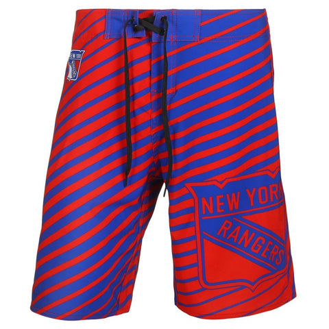 New York Rangers Official NHL Team Logo Poly Stripes Boardshorts