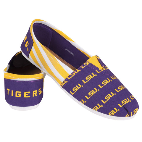 LSU Tigers Official NCAA Stripe Canvas Shoes