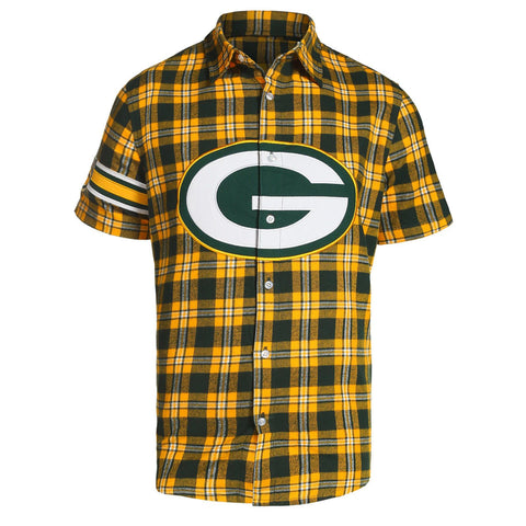 Green Bay Packers NFL Team Logo Mens Colorblock Short Sleeve Flannel Shirt