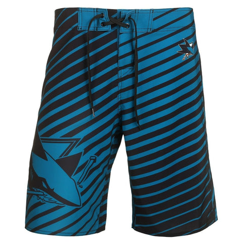 San Jose Sharks Official NHL Team Logo Poly Stripes Boardshorts