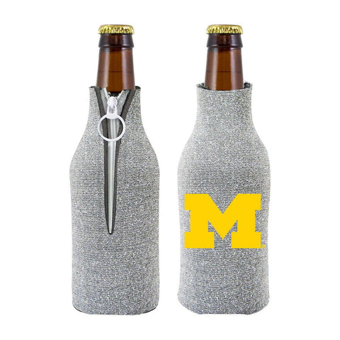 Michigan Wolverines NCAA Insulated Neoprene Ladies Glitter Bottle Cooler