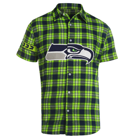 Seattle Seahawks NFL Team Logo Mens Colorblock Short Sleeve Flannel Shirt