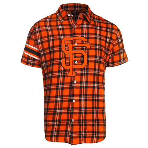 San Francisco Giants MLB Mens Colorblock Short Sleeve Flannel Shirt