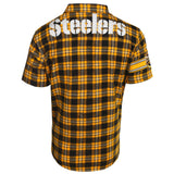 Pittsburgh Steelers NFL Team Logo Mens Colorblock Short Sleeve Flannel Shirt