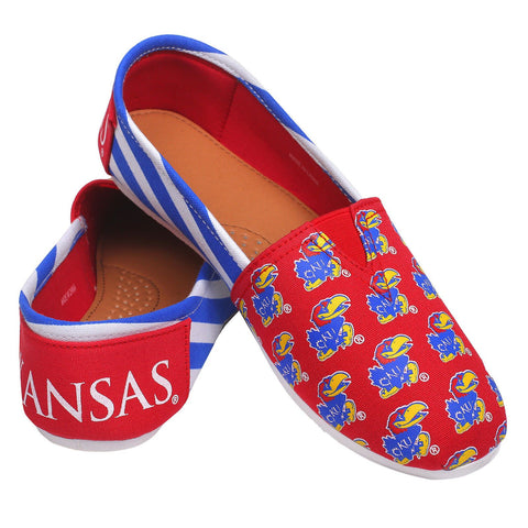 Kansas Jayhawks Official NCAA Stripe Canvas Shoes