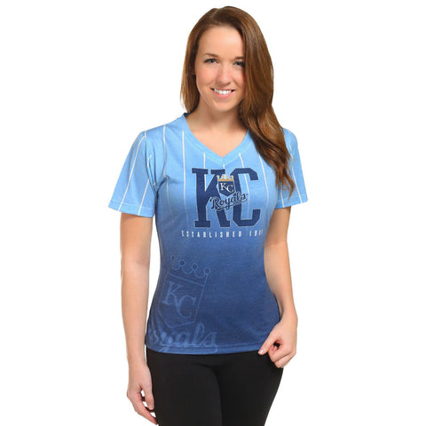 Kansas City Royals Official MLB Womens Gradient V-Neck T-Shirt