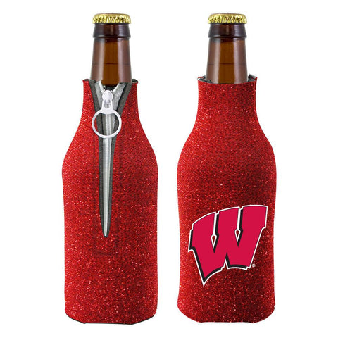 Wisconsin Badgers NCAA Insulated Neoprene Ladies Glitter Bottle Cooler