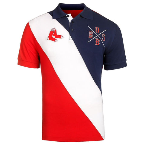 Boston Red Sox Official MLB Diagonal Stripe Polo