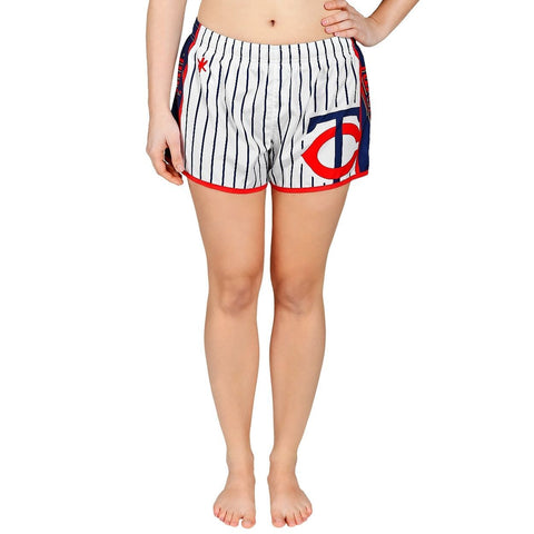 Minnesota Twins Official MLB Womens Comfy Pin Stripe Shorts
