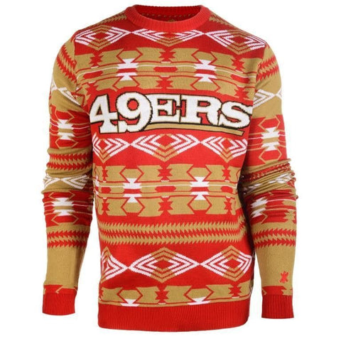 San Francisco 49ers NFL Aztec Print Crew Neck Ugly Sweater