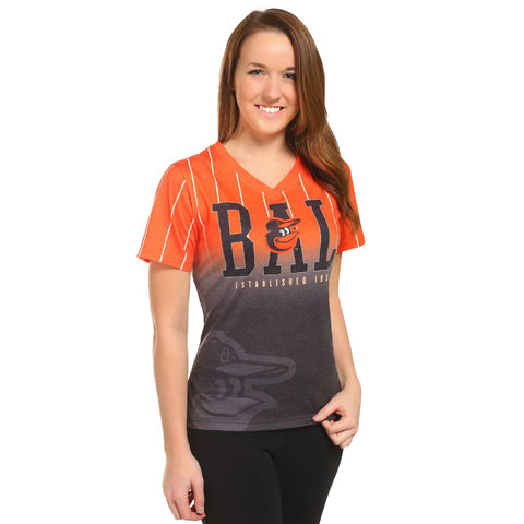 Baltimore Orioles Official MLB Womens Gradient V-Neck T-Shirt