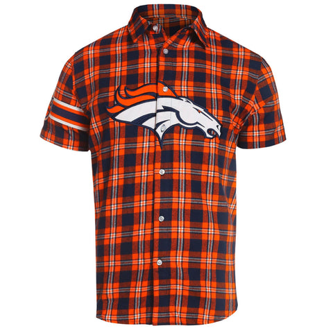 Denver Broncos NFL Team Logo Mens Colorblock Short Sleeve Flannel Shirt