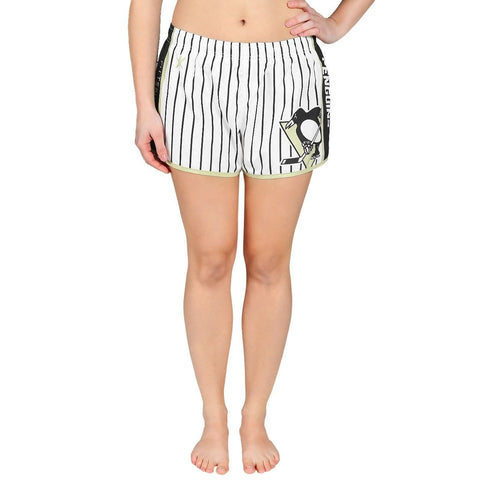 Pittsburgh Penguins Official NHL Womens Comfy Pin Stripe Shorts