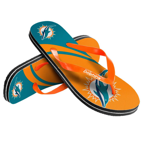 Miami Dolphins Official NFL Unisex Thong Flip Flops