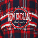 New England Patriots NFL Team Logo Mens Colorblock Short Sleeve Flannel Shirt