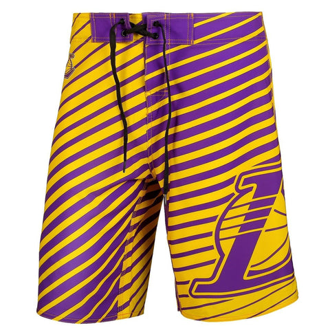 Los Angeles Lakers Official NBA Poly Stripes Swimsuit Boardshorts