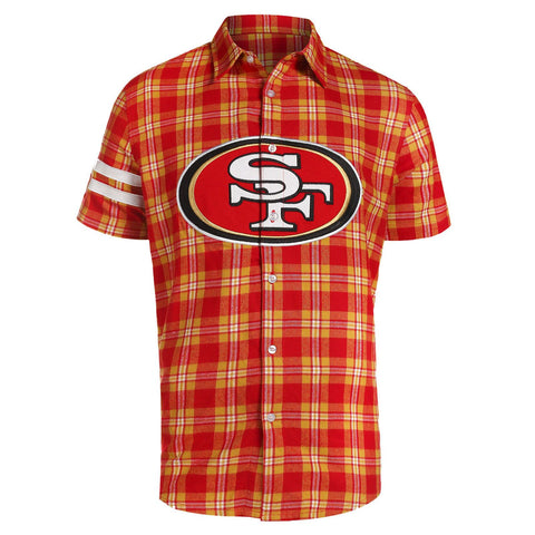 San Francisco 49ers NFL Team Logo Mens Colorblock Short Sleeve Flannel Shirt