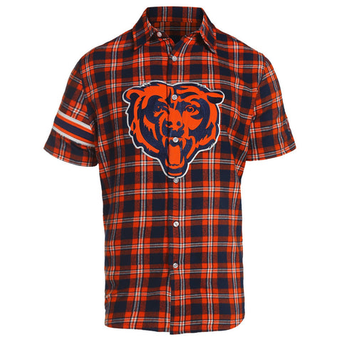 Chicago Bears NFL Team Logo Mens Colorblock Short Sleeve Flannel Shirt