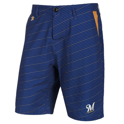 Milwaukee Brewers Official MLB Dots Walking Shorts with Pockets Button and Zipper