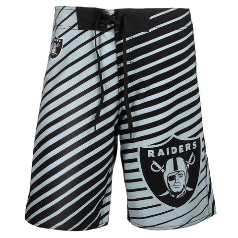 Oakland Raiders Official NFL Poly Stripes Swimsuit Boardshorts