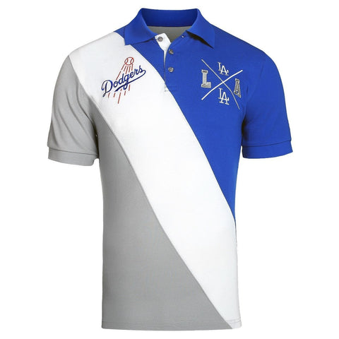 Los Angeles Dodgers Official MLB Diagonal Stripe Polo