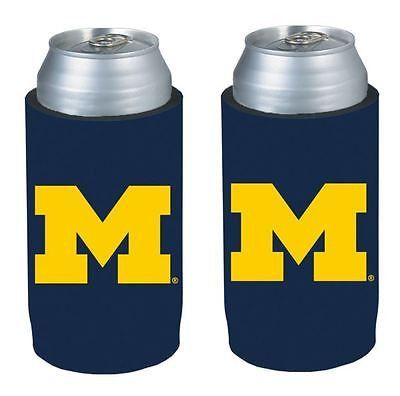 Michigan Wolverines NCAA Ultra Slim Can Drink Beer Holder 2-Pack