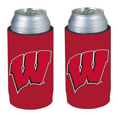 WIsconsin Badgers NCAA Ultra Slim Can Drink Beer Holder 2-Pack