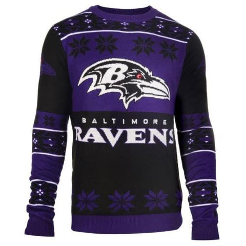 Baltimore Ravens NFL Big Logo Crew Neck Ugly Sweater