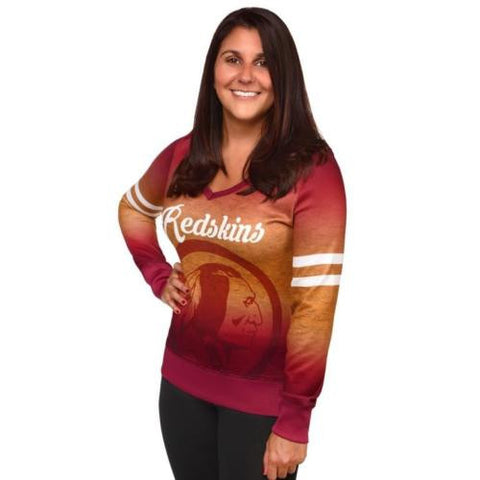 Washington Redskins Women's NFL Printed Gradient V-Neck Sweater