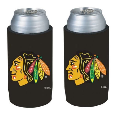 Chicago Blackhawks NHL Ultra Slim Can Drink Beer Holder Cooler 2-Pack