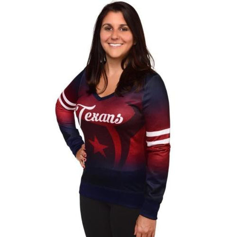 Houston Texans Women's NFL Printed Gradient V-Neck Sweater