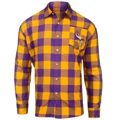 Minnesota Vikings NFL Mens Football Large Check Flannel Shirt