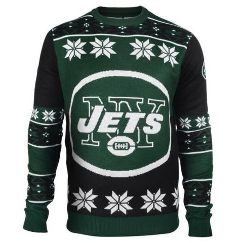 New York Jets NFL Big Logo Crew Neck Ugly Sweater