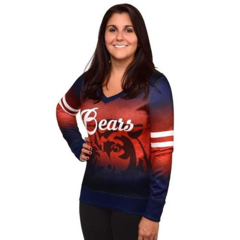 Chicago Bears Women's NFL Printed Gradient V-Neck Sweater