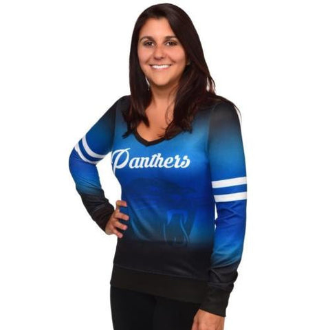 Carolina Panthers Women's NFL Printed Gradient V-Neck Sweater