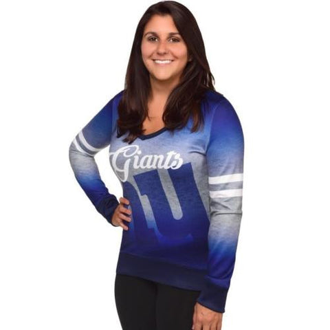 New York Giants Women's NFL Printed Gradient V-Neck Sweater