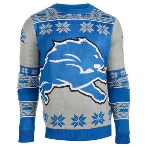Detroit Lions NFL Big Logo Crew Neck Ugly Sweater