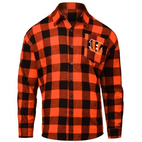Cincinnati Bengals NFL Mens Football Large Check Flannel Shirt