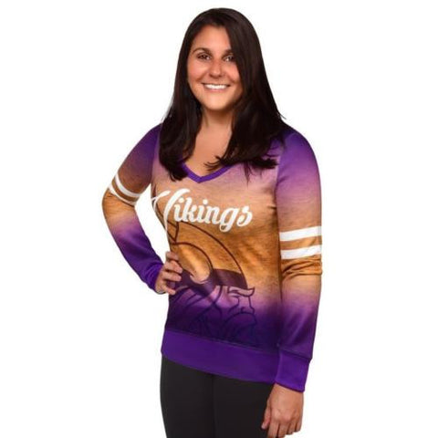 Minnesota Vikings Women's NFL Printed Gradient V-Neck Sweater