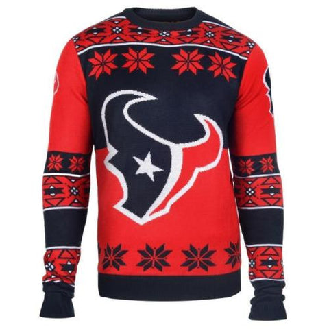 Houston Texans NFL Big Logo Crew Neck Ugly Sweater