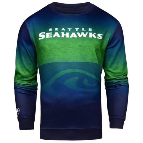 Seattle Seahawks NFL Printed Gradient Crew Neck Sweater