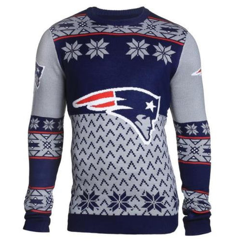 New England Patriots NFL Big Logo Crew Neck Ugly Sweater