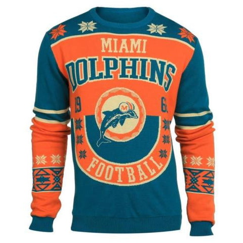 Miami Dolphins Official NFL Warm Winter Cotton Retro Sweater
