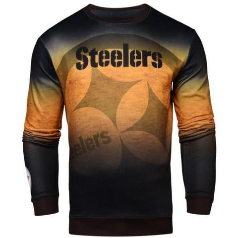 Pittsburgh Steelers NFL Printed Gradient Crew Neck Sweater