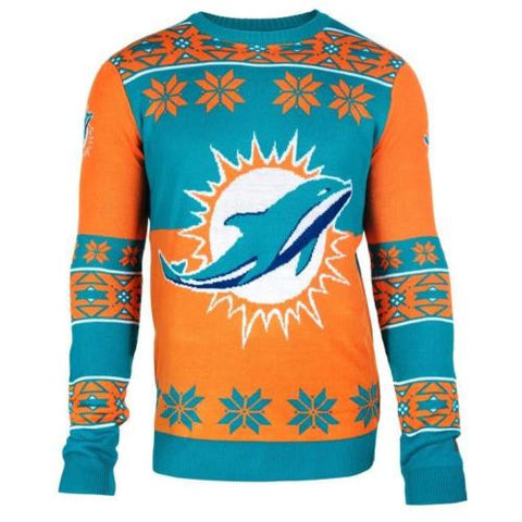Miami Dolphins NFL Big Logo Crew Neck Ugly Sweater